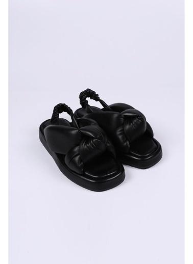 Female Project Siyah Hakiki Deri Dolgu Taban Sandalet Siyah